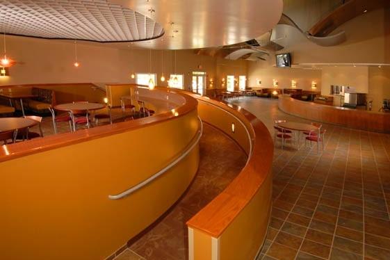 Cafe seating and handicap accessible ramp