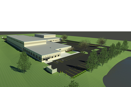 Facilities Purchasing Warehouse - Front Parking and Retention Pond