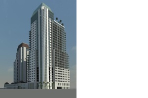 Ground Level Perspective of Mixed Use Residential Tower