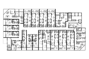 Residential Tower. Mix of studioes, 1-3 bedroom Units